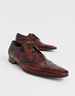 Jeffery West escobar shoe in brown croc leather