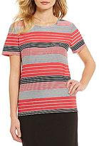 Calvin Klein Crew Neck Short Sleeve Multi Stripe Textured Knit Top
