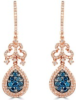 Effy Jewelry Effy 14K Rose Gold Blue and White Diamond Earrings, 1.72 TCW