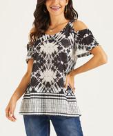 Suzanne Betro Weekend Women's Tunics 101BLACK/WHITE - Black & White Ikat Border Cold-Shoulder Tunic - Women & Plus