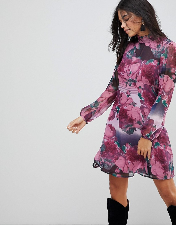 Traffic People Ruffle Neck Skater Dress In Rose Print