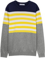 Meters/bonwe Men's Round Neck Color Block Striped Pullover Knitted Sweater, L