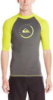 Quiksilver Men's Lock Up Short Sleeve Rashguard, Dark Shadow/Sulphur Springs