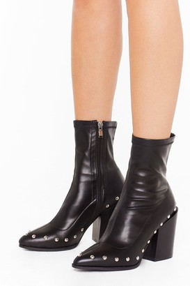 Nasty Gal Womens That's Faux Leather Gonna Happen Embellished Boots - Black