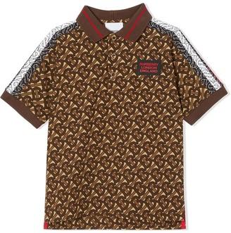 BURBERRY KIDS Monogram Stripe Print Polo Shirt