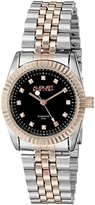 August Steiner Women's AS8046TTR Diamond Accented Black Dial Silver & Rose Gold Bracelet Watch