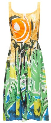 Marni Drawstring-waist Jungle-print Poplin Dress - Womens - Green Multi