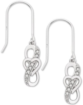 Macy's Diamond Heart Drop Earrings (1/10 ct. t.w.) in Sterling Silver