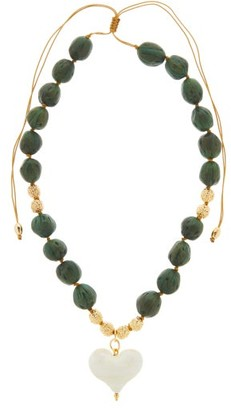 Tohum Cuore Gold-plated Wooden Pendant Necklace - Green White