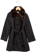 Helena Girls' Faux Fur-Trimmed Belted Coat
