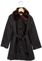 Helena Girls' Faux Fur-Trimmed Belted Coat