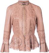Roberto Cavalli peplum jacket - women - Silk/Leather - 40