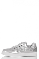Quiz Silver Glitter Lace Skater Trainers