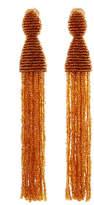 Oscar de la Renta Long Beaded Tassel Clip Earrings