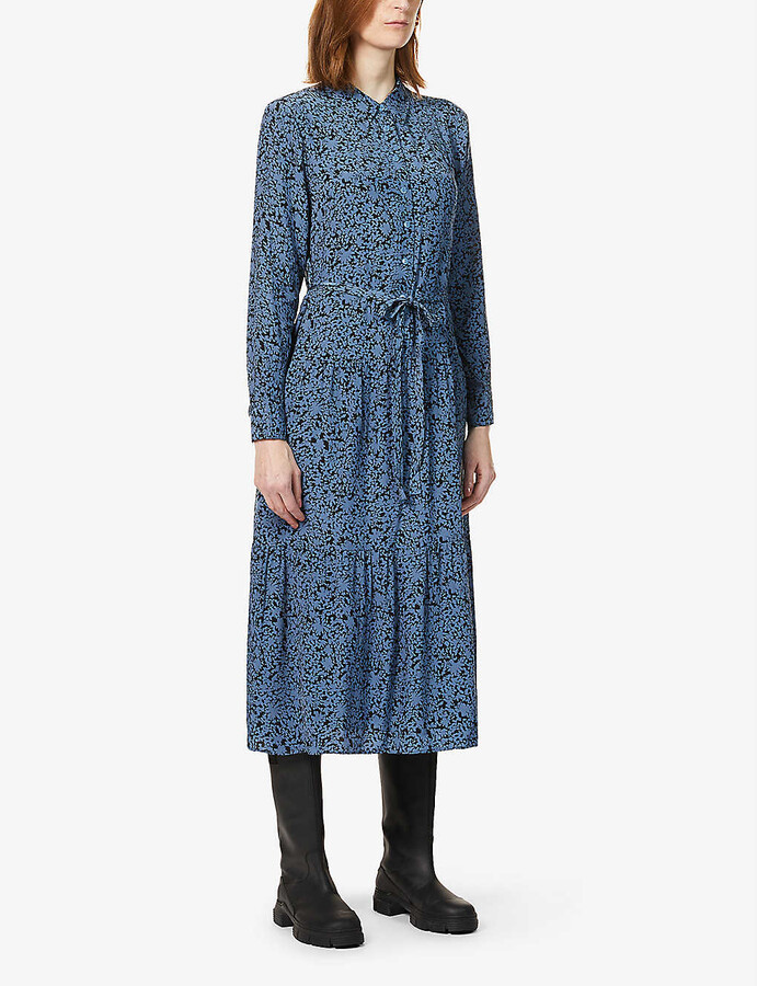Whistles Floral-print woven midi dress