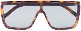 Saint Laurent Eyewear Mask tortoiseshell-effect sunglasses