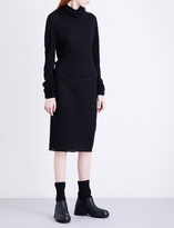 Isabel Benenato Turtleneck cotton and wool-blend dress