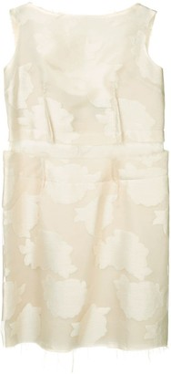 Comme Des Garçons Pre Owned Frayed Embroidered Sleeveless Dress