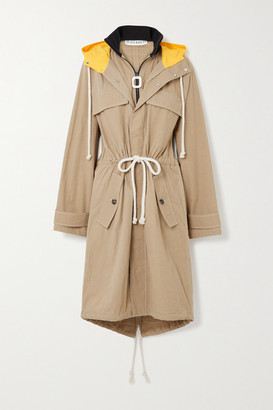 J.W.Anderson Hooded Jersey And Shell-trimmed Cotton-blend Canvas Jacket
