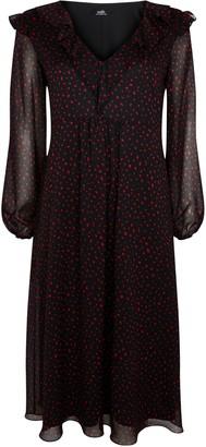 Wallis Black Polka Dot Print Frill Dress