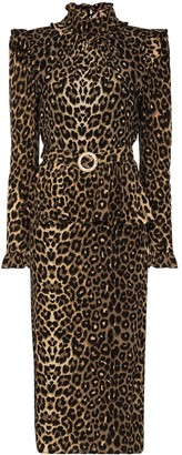 Alessandra Rich Belted Leopard-Print Peplum Midi Dress