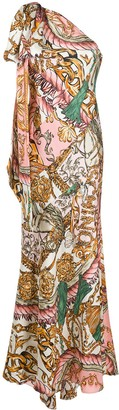 Moschino Baroque-Print One-Shoulder Dress