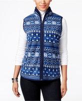 Karen Scott Petite Printed Fleece Vest, Only at Macy's