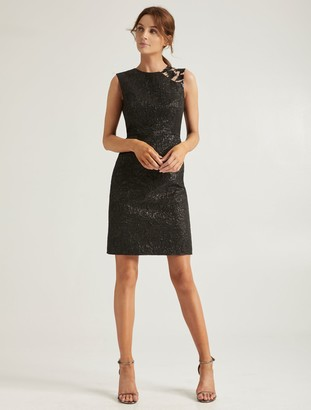 Halston Embellish Jacquard Dress