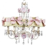 The Well Appointed House Flower Garden Five Arm Chandelier with Green Plaid Shades