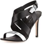 Charles David Ivette Crisscross Leather Sandal, Black/Silver