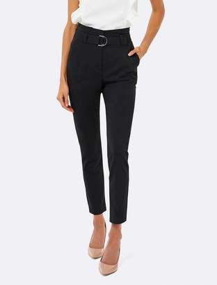 Forever New Talia Tapered Paper Bag Pants - Black - 4
