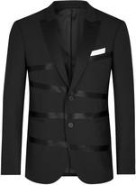 Neil Barrett Black Appliquéd Gabardine Blazer
