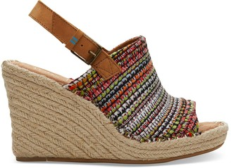 Toms Red Woven Monica Women's Wedges