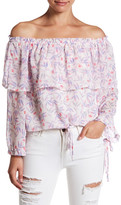 Honey Punch Off-the-Shoulder Floral Pattern Tie Detail Shirt