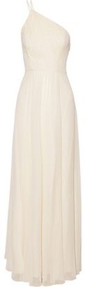 Halston One-shoulder Pleated Metallic Georgette Gown