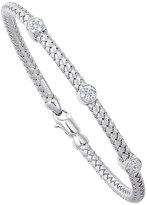 "JewelStop 14k White Gold 0.21 Ctw. Diamond Basket Weave Bangle - 7.25"""