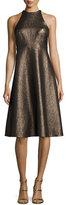 Halston Sleeveless Metallic Halter Jacquard Cocktail Dress