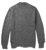 Alexander McQueen Distressed Mohair and Silk-Blend Sweater