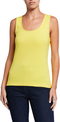 Joan Vass Petite Scoop-Neck Solid Rib Tank