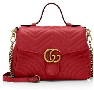 Gucci Small GG Marmont Leather Top Handle Bag