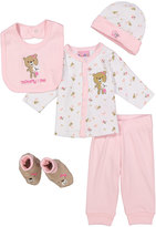 Sweet & Soft Pink & White Bear 'Mommy & Me' Five-Piece Layette Set - Infant