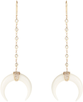 Jacquie Aiche Diamond, bone horn & yellow-gold earrings