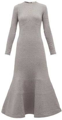 Vika Gazinskaya Trumpet Hem Cotton Blend Midi Dress - Womens - Grey