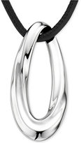 Nambe Oval Pendant Necklace in Sterling Silver and Black Leather, Only at Macy's