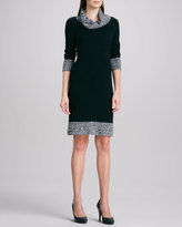 Neiman Marcus Cashmere Sweaterdress with Marled Trim