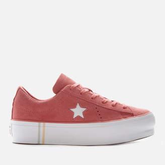 Converse One Star Platform Seasonal Suede Ox Trainers - Light Redwood/White/White
