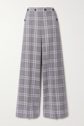 Roland Mouret Palmetto Button-detailed Checked Wool Wide-leg Pants - Light gray