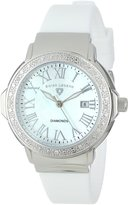"Swiss Legend Women's 20032D-02 ""South Beach Collection"" Stainless Steel, White Silicone, and Diamond Watch"