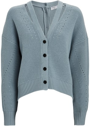 Proenza Schouler White Label Wool Cut-Out V-Neck Cardigan