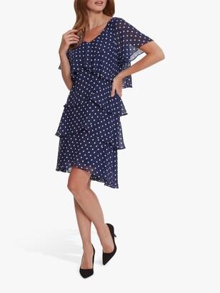 Gina Bacconi Loxie Ruffle Polka Dot Dress, Navy